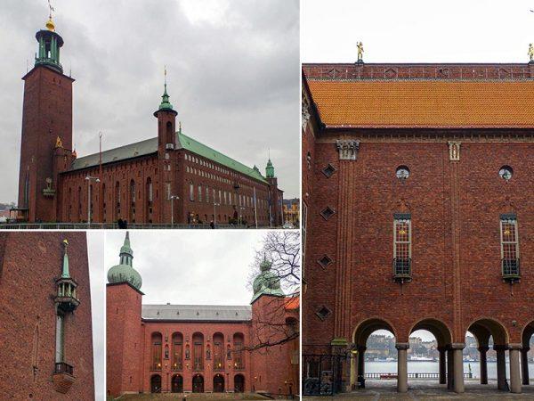 ストックホルム市庁舎(ラグナル・エストベリ、1923年)。レンガでも模様が描き出されている。右の写真が海に面した回廊